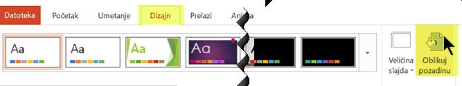 "Dugme ""Oblikuj pozadinu"" nalazi se na kartici ""Dizajn"", na traci, u programu PowerPoint"