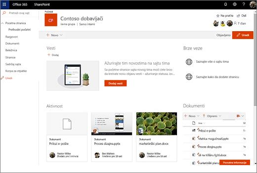 Ovo prikazuje lokaciju tima nakon što ste povezali novu Office 365 grupu i sadrži veze ka stare lokacije tima.