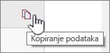Kliknite na ikonu Kopiranje podataka da biste kopirali trenutne Veb segment za podatke