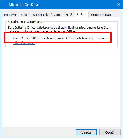 """Office kartica """"Otpremanje"""" u OneDrive postavkama"""