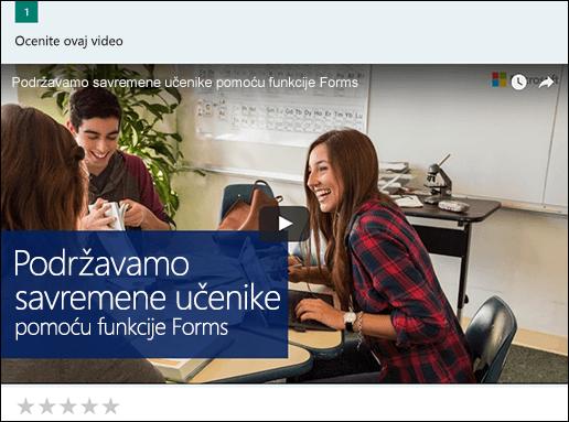 Umetanje YouTube video zapisu za Microsoft Forms