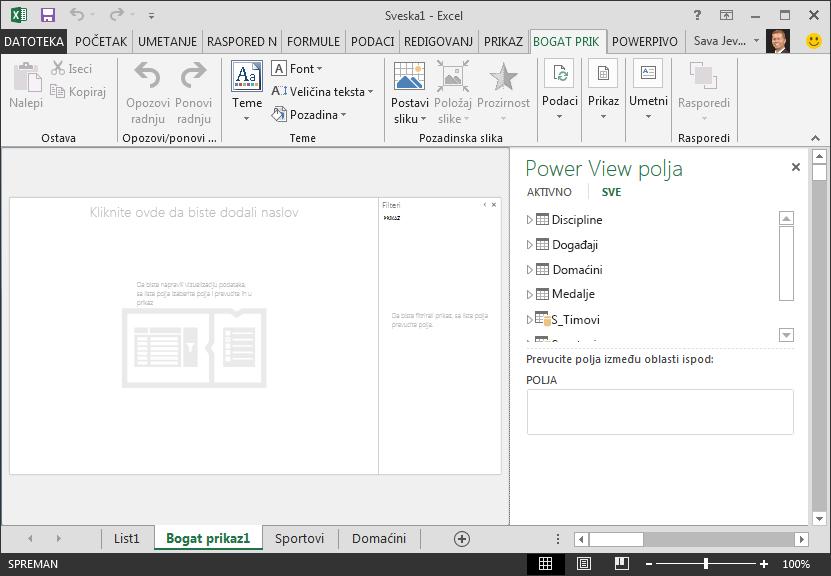 prazan Power View izveštaj u programu Excel
