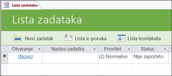 Obrazac liste zadataka u predlošku Access baze podataka za zadatke