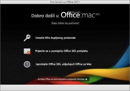 Snimak ekrana stranice dobrodošlice za Office za Mac 2011