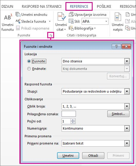 Otvaranje polja za prilagođavanje fusnote i endnote
