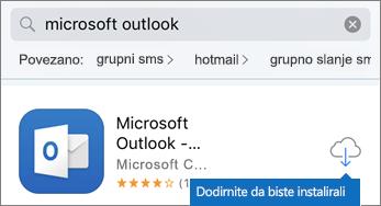 Dodirnite ikonu oblaka da biste instalirali Outlook