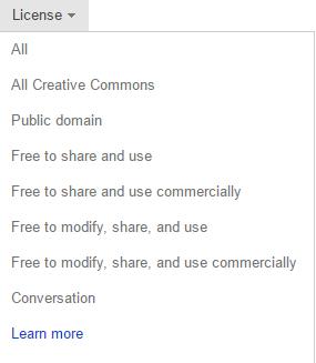 """Padajući meni """"Licenca"""" u kome je izabrana stavka """"Dozvoljeni su izmena, deljenje i komercijalna upotreba""""."""