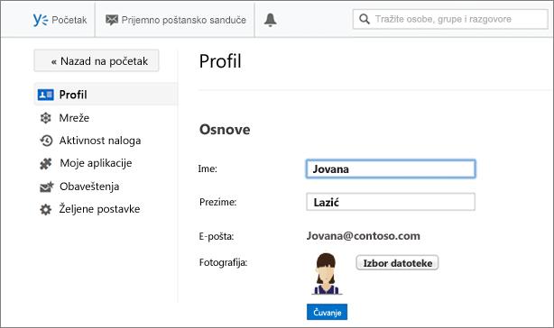 Osnovne informacije o profilu
