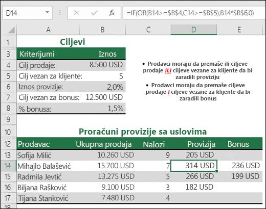 Primer korišćenja funkcija IF i OR za izračunavanje prodajne provizije.