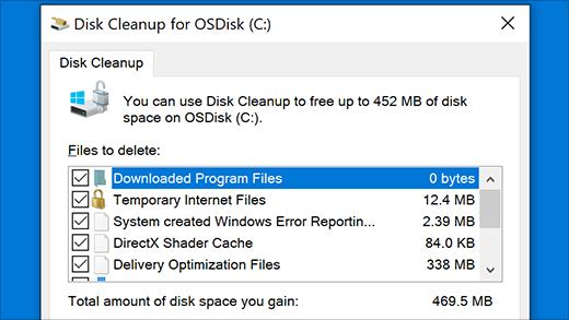Pokretanje uslužnog programa za čišćenje diska