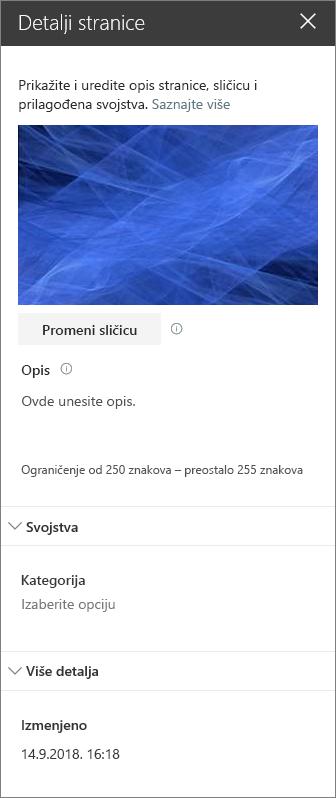 Okno sa detaljima stranice