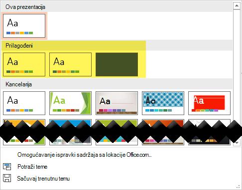 """Na kartici """"Dizajn"""" prilagođeni predlošci dostupni su da biste odabrali u odeljku """"Prilagođeno"""" Galerija """"teme"""""""