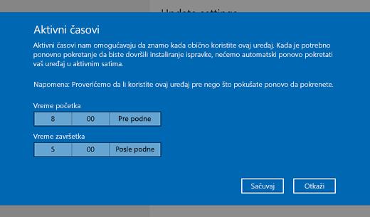 Snimak ekrana prozora dijalog za promenu vremena aktivnog štampanja