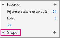 Pronaći ćete čvor grupe na levoj traci za navigaciju u programu Outlook na Vebu