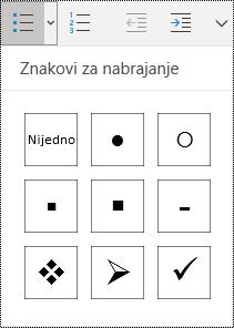 """Dugme """"Lista sa znakovima za nabrajanje"""" izabrano u meniju """"Početak"""" u programu OneNote za Windows 10."""