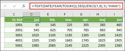 Koristite funkciju SEQUENCE sa funkcijama TEXT, DATE, YEAR i TODAY da biste kreirali dinamičku listu meseci za red zaglavlja.