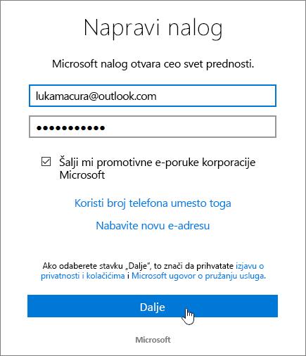 Snimak koji prikazuje kreiranje Microsoft Account dijalog.