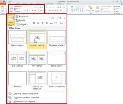 """Kartica """"Početak"""" u programu PowerPoint 2010, pogled na grupu """"Slajdovi""""."""