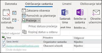 Možete da odštampate listu učesnika sastanka i njihovom statusu odgovor.