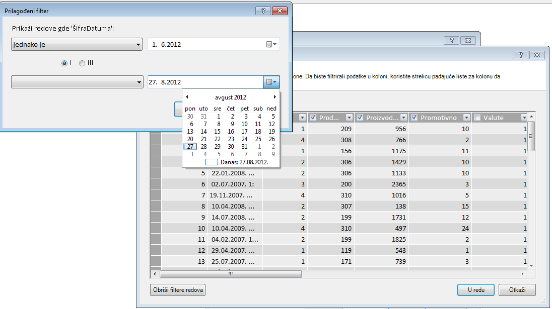 Okno za filtriranje u čarobnjaku za uvoz tabele