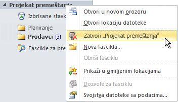 """Komanda """"Zatvori Outlook datoteku sa podacima (.pst)"""""""