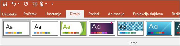 Prikazuje karticu za dizajn na traci u programu PowerPoint