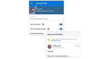 Ekran sa informacijama o nalogu sa mogućnošću za blokiranje spoljnog sadržaja