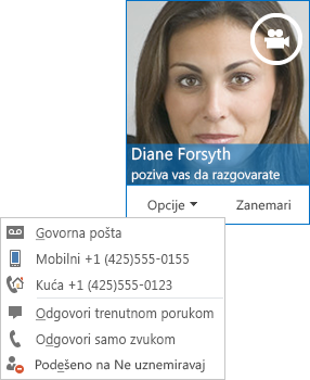 Snimak ekrana sa obaveštenjem o video pozivu sa slikom kontakta u gornjem uglu