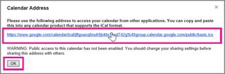 google kalendar – okvir za adresu kalendara