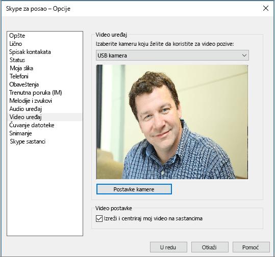 """Snimak ekrana stranice """"Video uređaji"""" dijaloga """"Opcije"""" u programu Skype za posao."""
