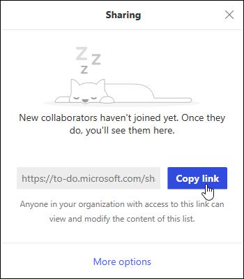 Kopija povezivanja za poziv na listi zadataka