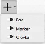 Pretplatnici Office 365 mogu da crtaju perom sa tri različite teksture: olovka, penkalo ili marker