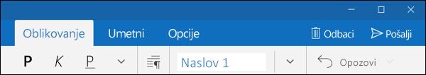 """Kartica """"Oblikovanje"""" u aplikaciji Outlook pošta"""