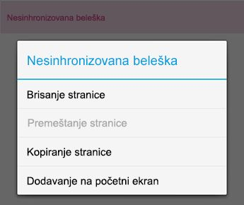 "Meni ""beleške"" u programu OneNote za Android"