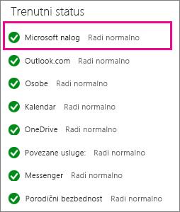 Status usluge Microsoft nalog