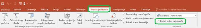 """Opciju """"Prikaz za izlagača"""" kontroliše polje za potvrdu na kartici """"Projekcija slajdova"""" na traci u programu PowerPoint."""