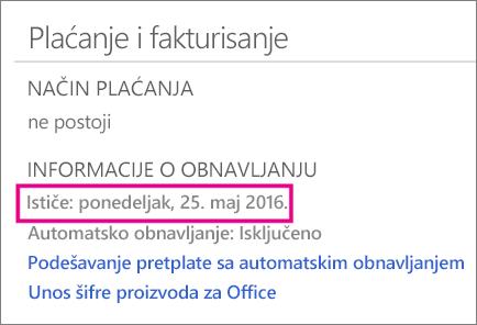 OneDrive – plaćanje i naplata