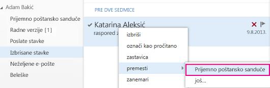 """Putanja menija koja se koristi za oporavak stavke iz fascikle """"Izbrisane stavke"""" u programu Outlook Web App"""