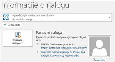 """Snimak ekrana koji prikazuje Outlook stranicu sa informacijama o nalogu u prikazu """"Backstage""""."""
