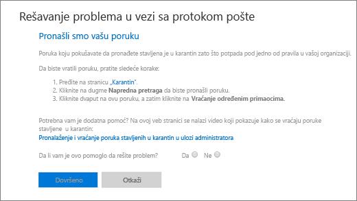 Snimak ekrana koji prikazuje primer rezultata alatke za rešavanje problema protoka pošte.