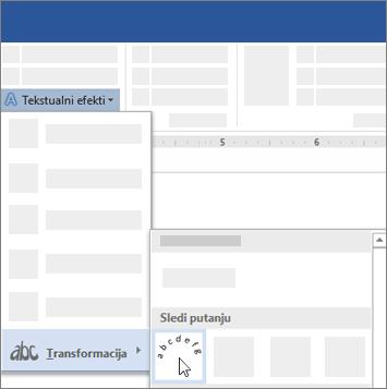 Opcije za transformisanje teksta radi praćenja putanje