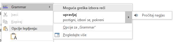 Prikazuje kontekstualni meni Gramatička greška