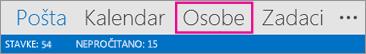 Traka za navigaciju programa Outlook – Osobe