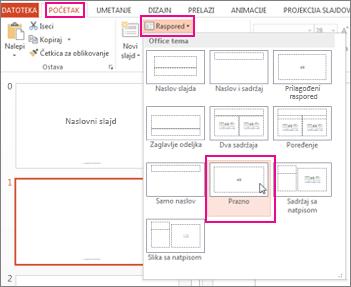 Ponovo primenite raspored koji ste promenili u prikazu mastera slajda