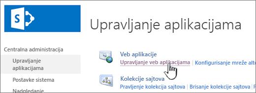 Otvaranje postavki za web aplikaciju