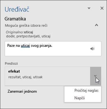 Okno zadatka uređivača za gramatiku