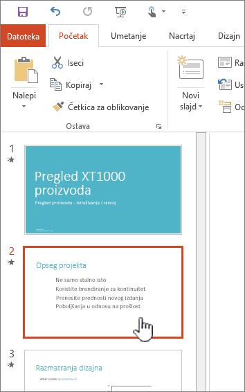 Slika leve sličice sa izabranim slajdom