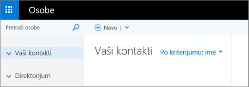 """Slika izgleda stranice """"Osobe"""" u programu Outlook Web App"""