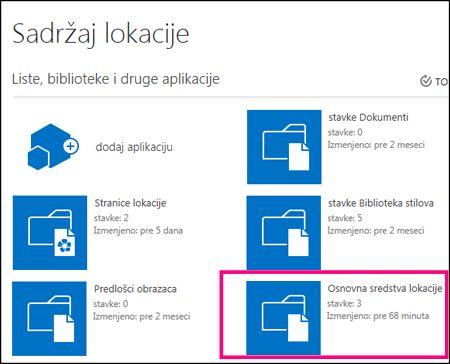 """Stranica """"Sadržaji sajta"""" na jednostavnom sajtu u sistemu SharePoint Online sa markiranom pločicom """"Resursi sajta"""""""