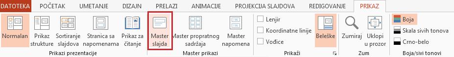 """Opcija """"Master slajda"""" je na kartici """"Prikaz""""."""